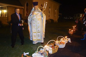 Father blesses the baskets of the faithful members of St. NIcholas